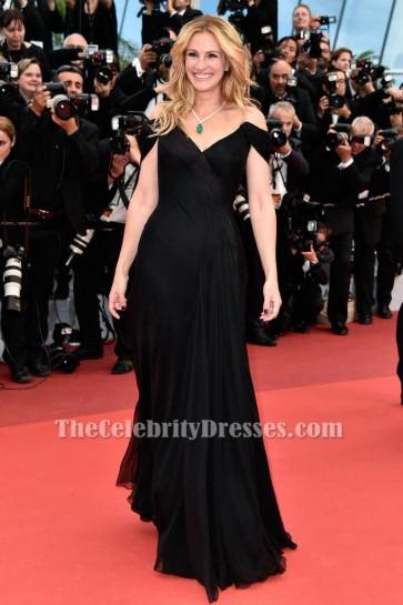 Julia Roberts Black Off-the-Shoulder Evening Dress 69th annual Cannes Film Festival