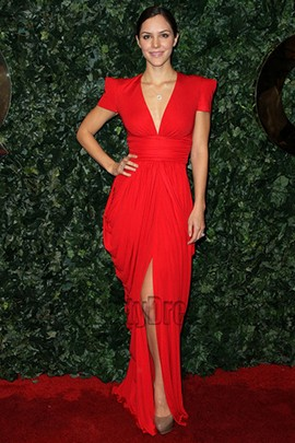 Katharine McPhee Red V-neck Evening Dress QVC Red Carpet Style Party