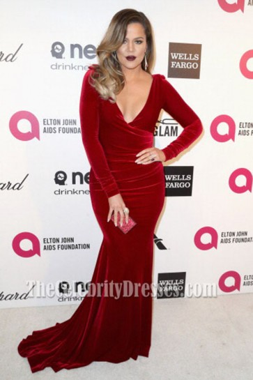 Khloé Kardashian Burgundy Velvet Evening Dress Elton John's Oscars party