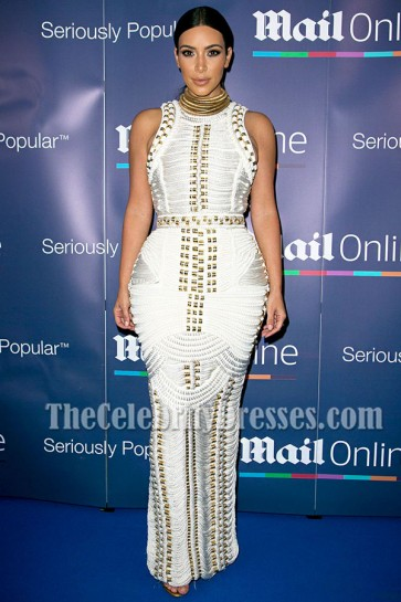 Kim Kardashian Curve Hugging White Evening Dress in Cannes TCDTB6305