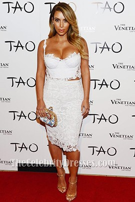 Kim Kardashian Birthday Event 2013 White Lace Party Dress