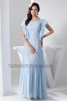 Light Sky Blue Lace Floor Length Prom Gown Evening Dress