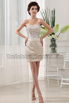 Luxurious Mini Beaded Strapless Party Dress Cocktail Dresses