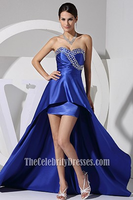 New Style Royal Blue Strapless Hi Low Prom Dress Evening Gown