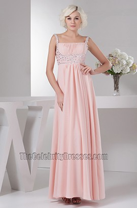 Pearl Pink Beaded Prom Gown Evening Bridesmaid Dresses