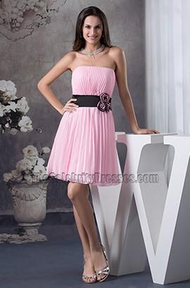 Pink Strapless A-Line Cocktail Graduation Party Dresses