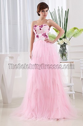 Gorgeous Pink A-Line Strapless Pageant Dress Prom Gown