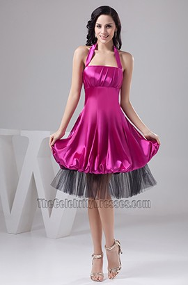 Purple Halter Knee Length Cocktail Graduation Party Dress