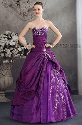 Purple Strapless A-Line Floor Length Formal Dress Evening Gown