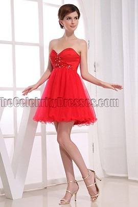 Red Strapless A-Line Party Dress Homecoming Dresses