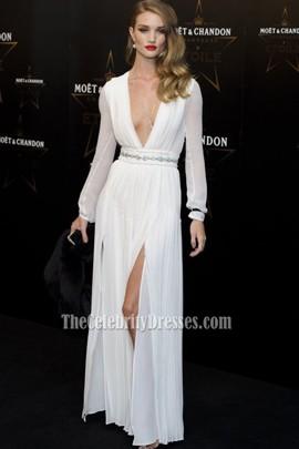 Rosie Huntington-Whiteley Sexy White Chiffon Prom Gown Formal Dress Moet & Chandon Etoile Awards