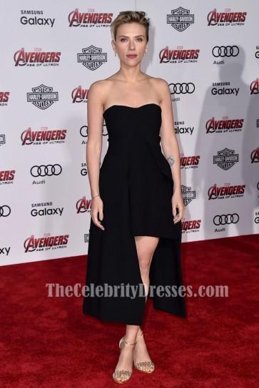 Scarlett Johansson スカーレット・ヨハンソンブラックカクテルパーティードレスアベンジャーズエイジオブウルトロンプレミア