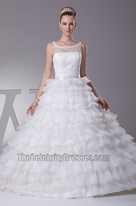 Scoop Neckline Lace Organza Wedding Dress Ball Gown