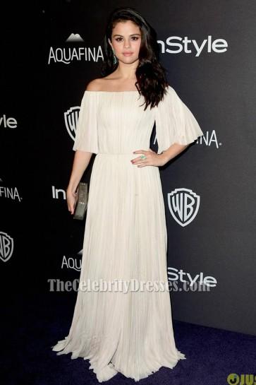 Selena Gomez セレナ・ゴメス オフショルダーのイブニングドレス2016ゴールデングローブパーティーの後
