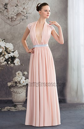 Sexy Deep V-Neck Full Length Chiffon Evening Dress Prom Gown