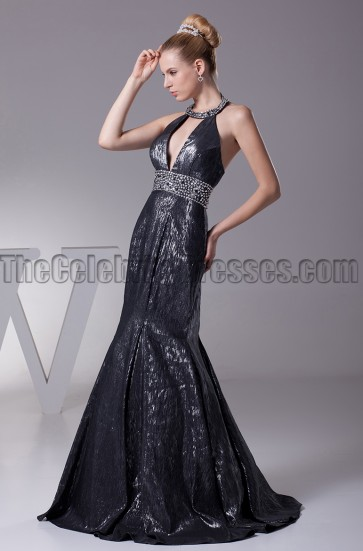 Sexy Black Sequined Halter Evening Prom Dresses