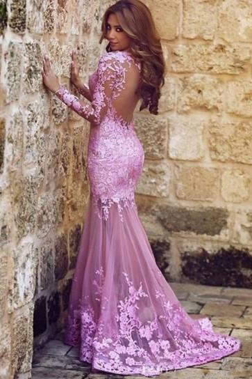 セクシーなピンクの長袖の人魚の背中が大きく開いイブニングドレスフォーマルドレス