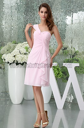 Sheath/Column Pink One Shoulder Cocktail Short Bridesmaid Dresses