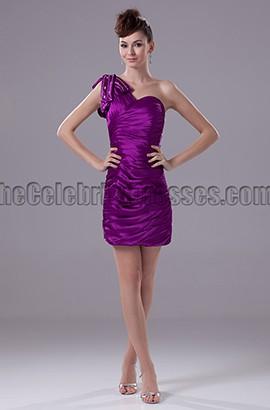 Short / Mini Purple One Shoulder Party Homecoming Dresses