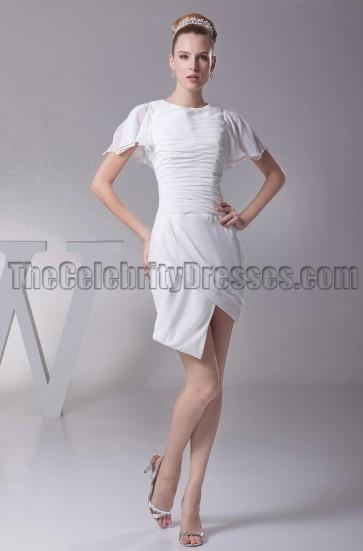 Chic Short White Asymmetric Graduation Party Cocktail Dresses