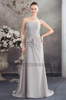 Strapless Silver Chiffon Bridesmaid Prom Evening Dresses