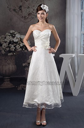 Strapless Sweetheart Ankle-Length A-Line Wedding Dresses