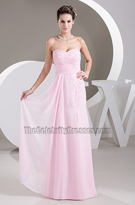 Strapless Sweetheart Pearl Pink Chiffon Prom Gown Bridesmaid Dresses