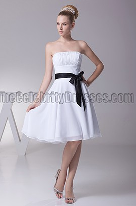 Discount White Strapless Bridesmaid Party Dresses