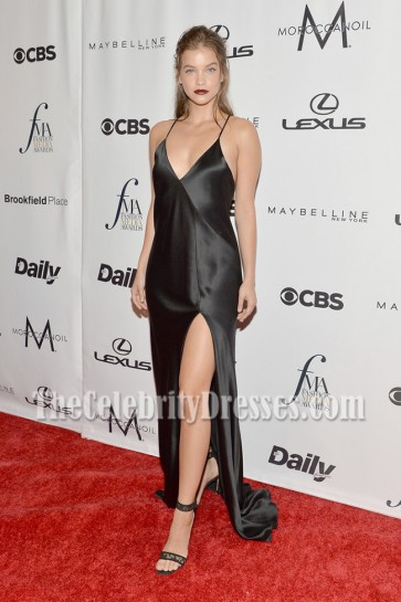 Barbara Palvin Black Spaghetti Strap Slip Evening Dress Fashion Media Awards