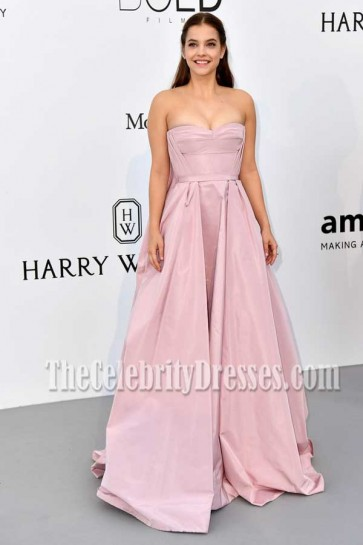 Barbara Palvin Pink Strapless Pageant Princess Ball Gown AMFAR Gala Cannes 2017