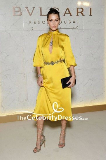 Bella Hadid Yellow Cut Out Party Dress With Sleeves Grand opening of Bulgari Dubai Resort