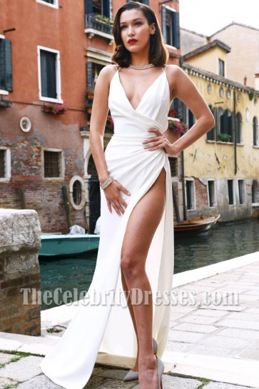 Bella Hadid White Sexy Thigh High Slit Dress With Spaghetti Straps Venice Italy