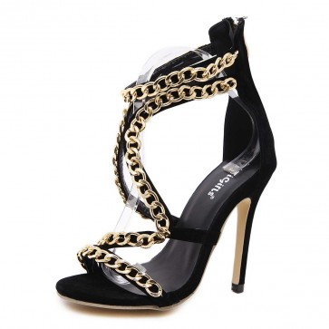 Black Chain Suede Sandals With Stiletto Heels For Bridal
