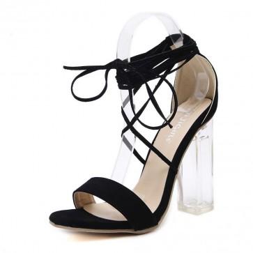 Black Chunky Heel Open-toe Women Tie Suede Summer Sandals Cheap