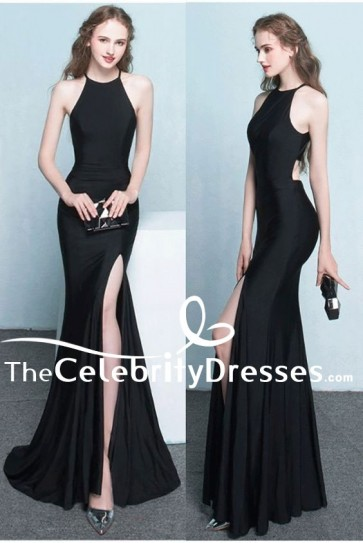 Sexy Floor Length Black Cut Out High Split Evening Gown Prom Dresses
