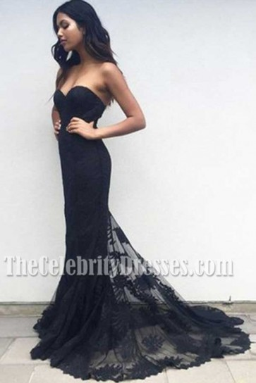 Black Strapless Sweetheart Mermaid Lace Formal Dress Evening Gown