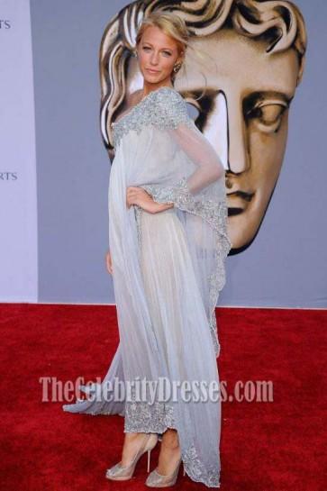 Blake Lively Embrodery Prom Gown Formal Evening Dresses BAFTA Red Carpet Dress
