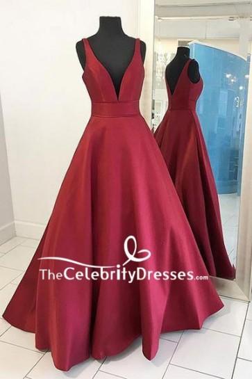 Burgundy Deep V-neck Ball Gown For Sale
