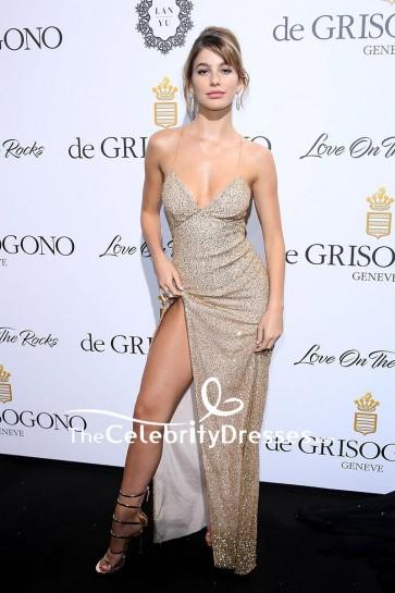 Camila Morrone Spaghetti Strap Backless Sequins Thigh-high Slit Evening Dress De Grisogono Party 70th Cannes Film Festival