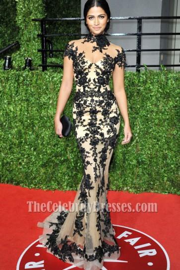 Camila Alves High Neck Black Embroidery Prom Dress 2011 Oscar Party