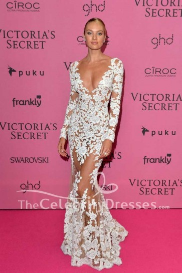 Candice Swanepoel Sexy White Lace Evening Dress With Sleeves 2014 Victoria's Secret Fashion Show