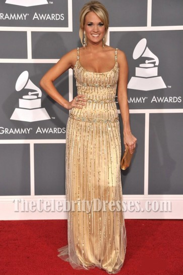 Carrie Underwood Gold Backless Sequins Evening Dress 51st Annual Grammy Awards