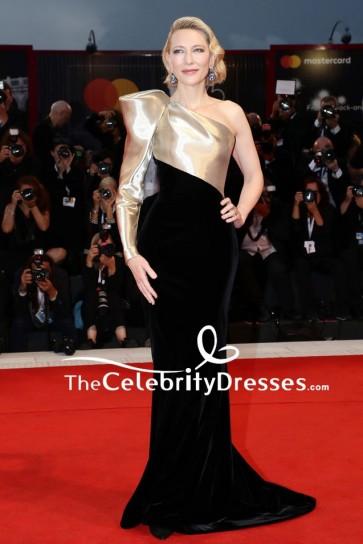 Cate Blanchett One-shoulder Gold And Black Column Evening Dress 2018 Venice Film Festival
