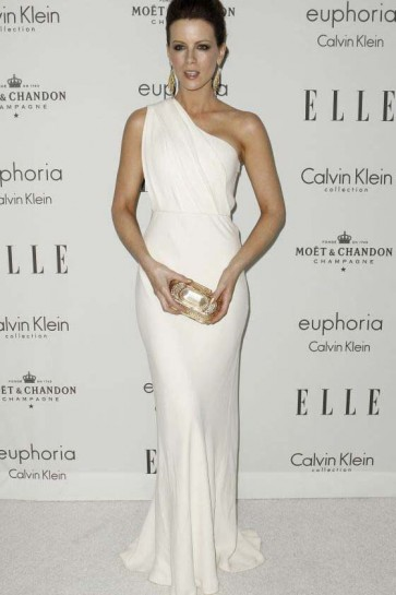 Kate Beckinsale White One Shoulder Prom Dress Evening Gown