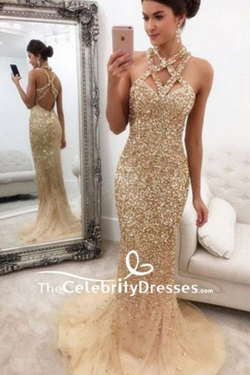 Champagne Beaded Cut Out Long Tulle Prom Dress For Sale Inspired Celebrity