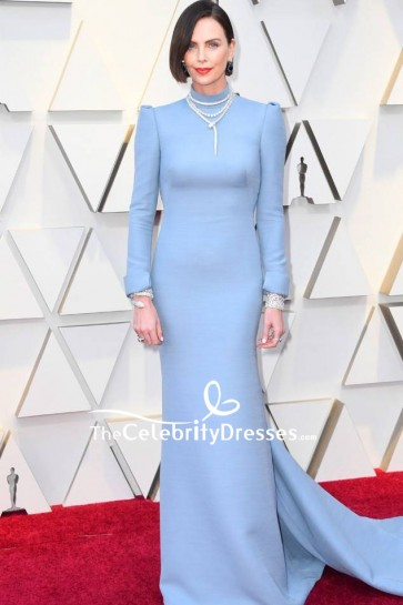 Charlize Theron Light Sky Blue Sheath Evening Dress With Long Sleeves Oscars 2019