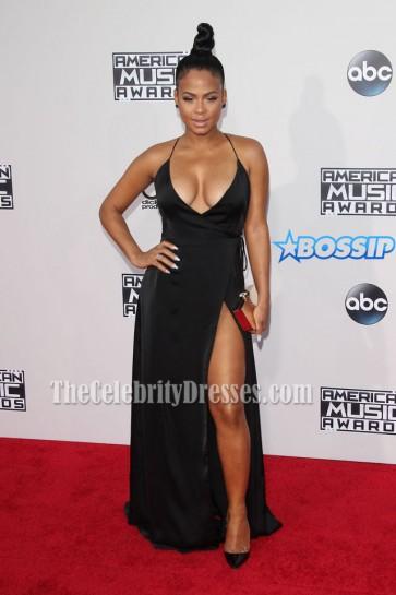 Christina Milian Sexy Low Cut Thigh-high Slit Black Halter Prom Dress 2015 AMAs  1