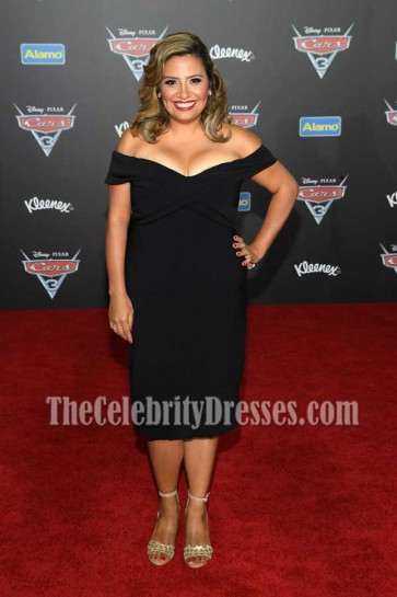 Cristela Alonzo Black Off-the-shoulder Party Dress Premiere of Disney And Pixar's Cars3
