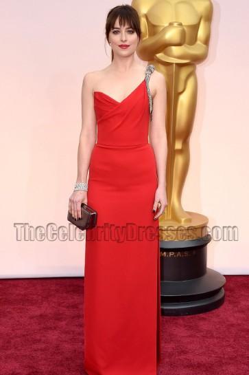 Dakota Johnson Red One Shoulder Evenign Dress 2015 Oscars