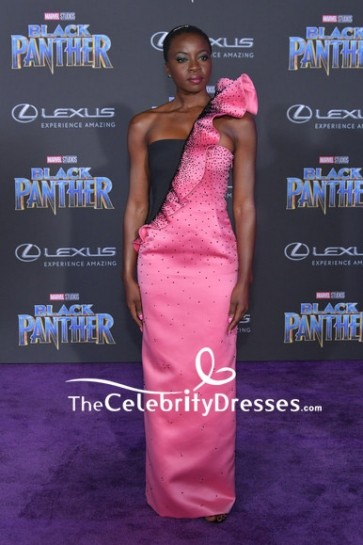 Danai Gurira Black And Pink One-shoulder Ruffle Evening Dress  World Premiere Of Black Panther